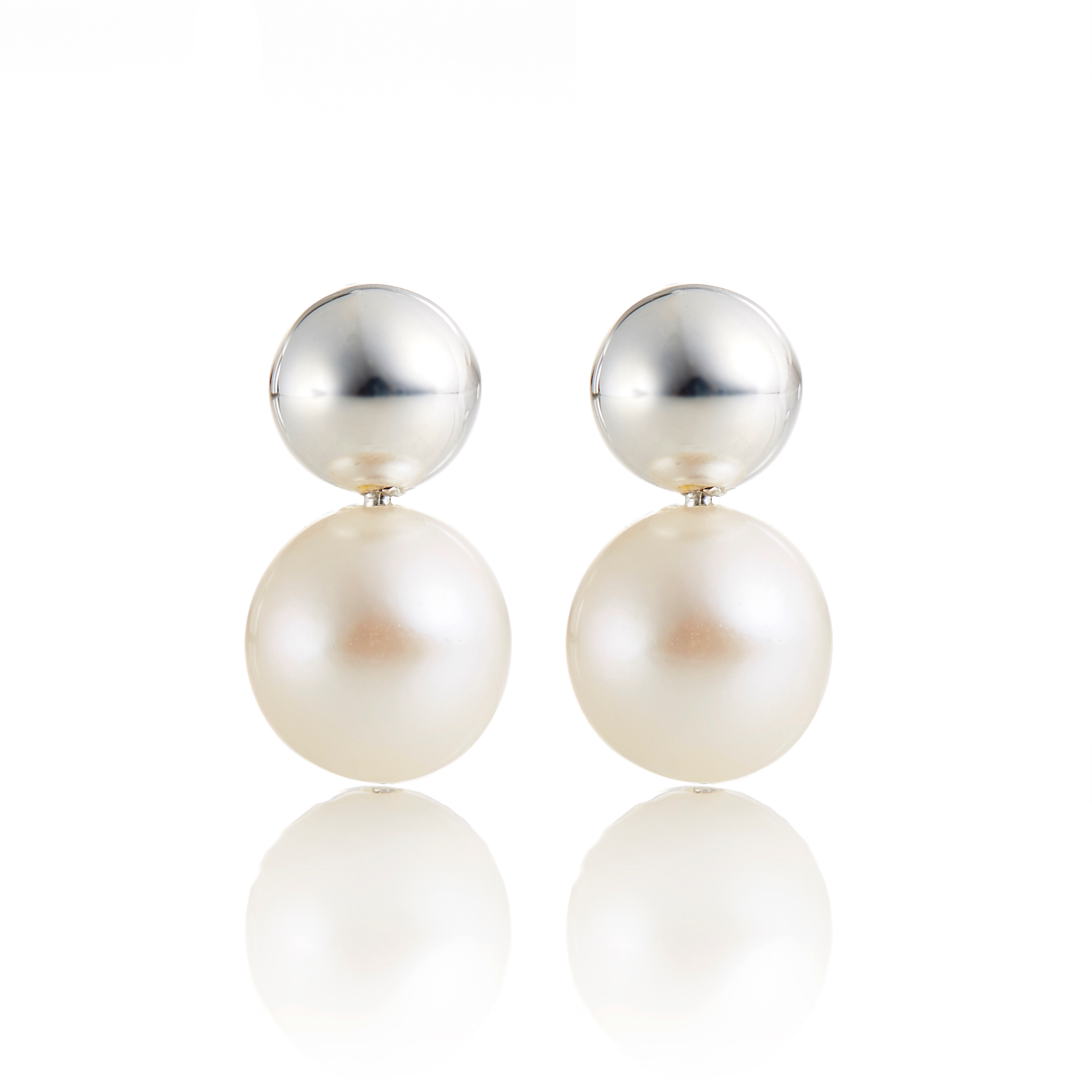 Georg Jensen Sterling Silver & White Pearl Moonlight Grapes Earrings