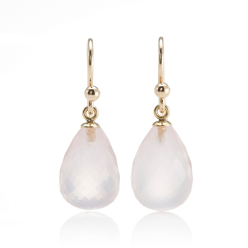 Gump's Faceted Rose Quartz Drop Earrings