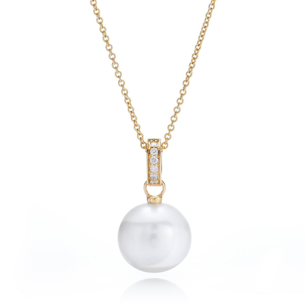 Gump's Round Pearl & Diamond Pendant Necklace