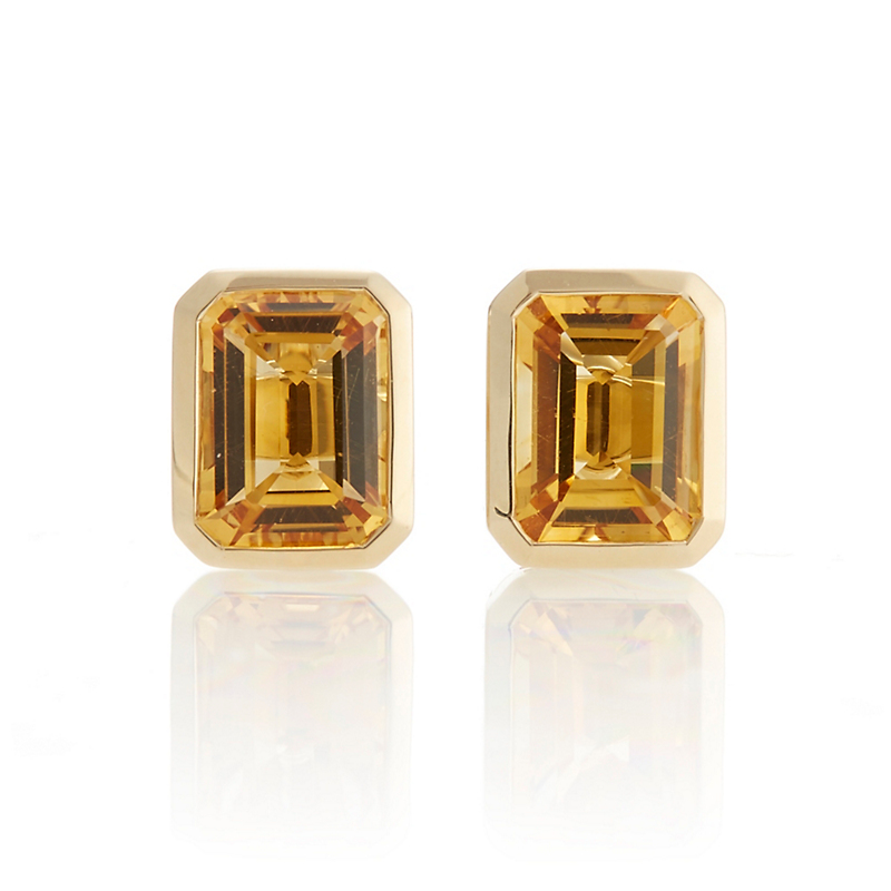 Gump's Citrine Emerald-Cut Stud Earrings