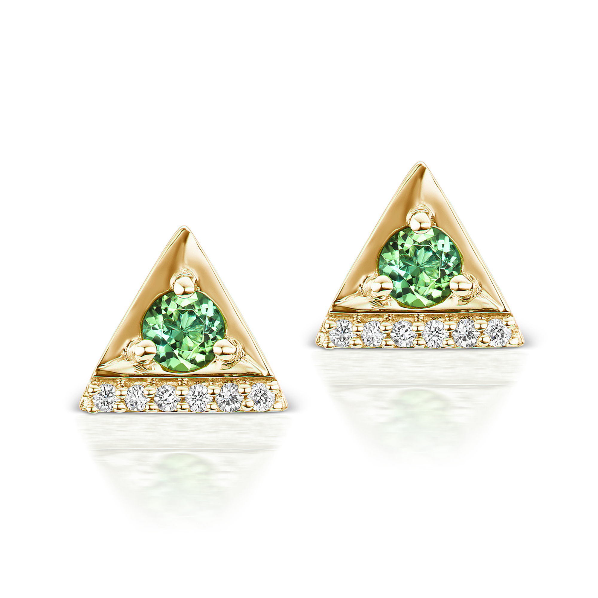 Jane Taylor Tourmaline & Diamond Cirque Triangle Stud Earrings