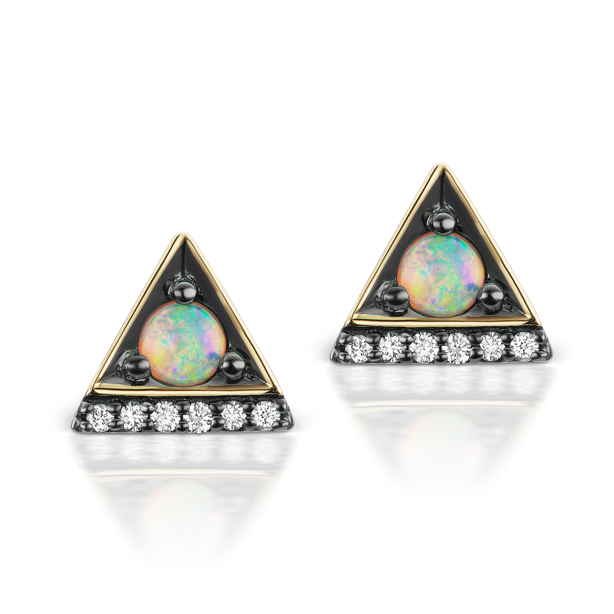 Jane Taylor Opal & Diamond Cirque Triangle Stud Earrings