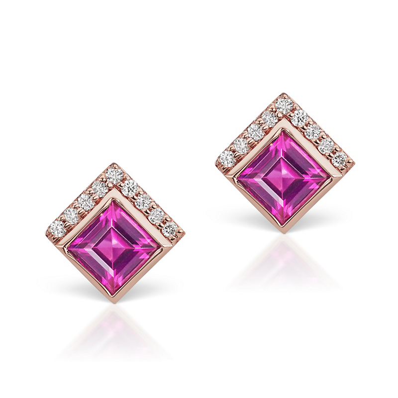 Jane Taylor Garnet & Diamond Cirque Triangle Stud Earrings