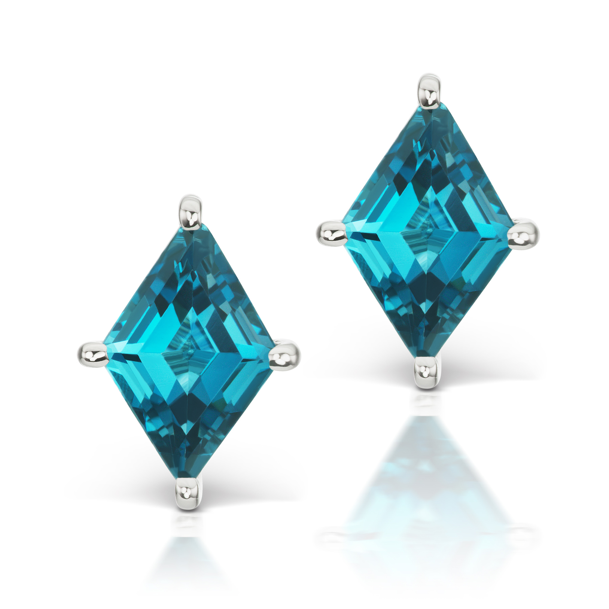 Jane Taylor London Blue Topaz Cirque Kite Stud Earrings