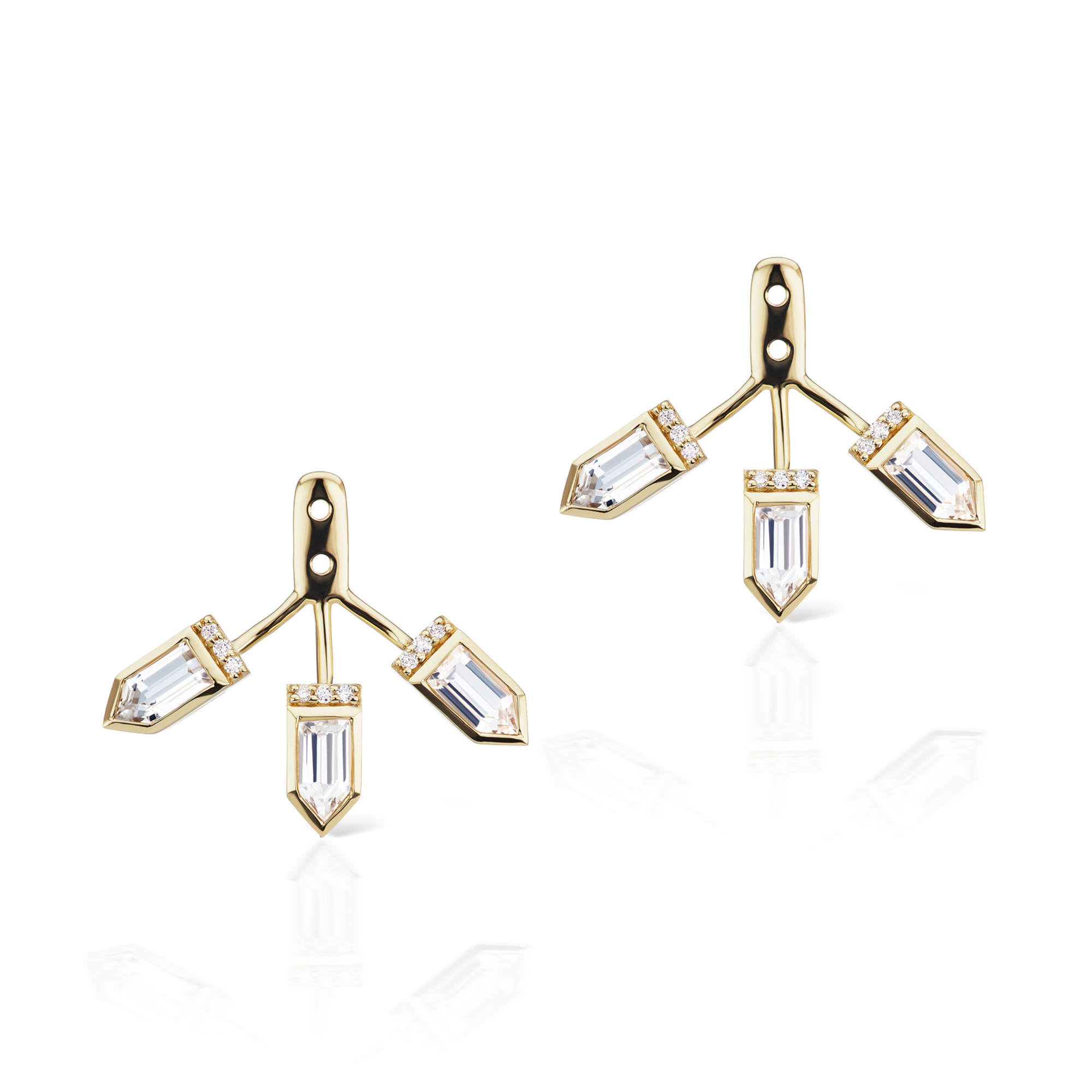 Jane Taylor White Topaz Cirque Triple Arrow Earring Jackets