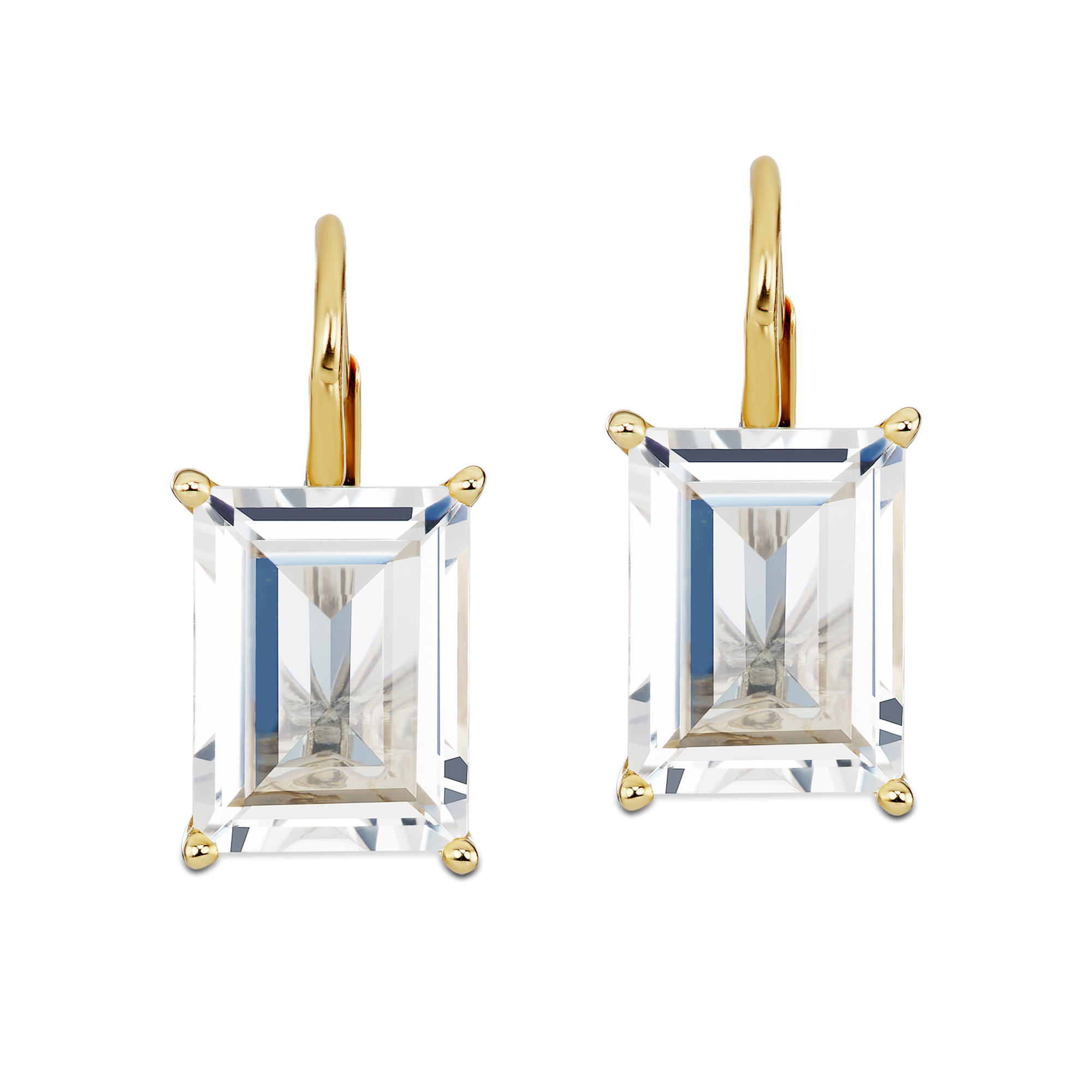 Jane Taylor White Topaz Baguette Cirque Drop Earrings