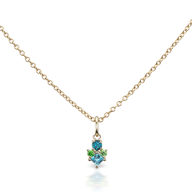 Jane Taylor Topaz & Garnet Cirque Mini Frida Cluster Necklace