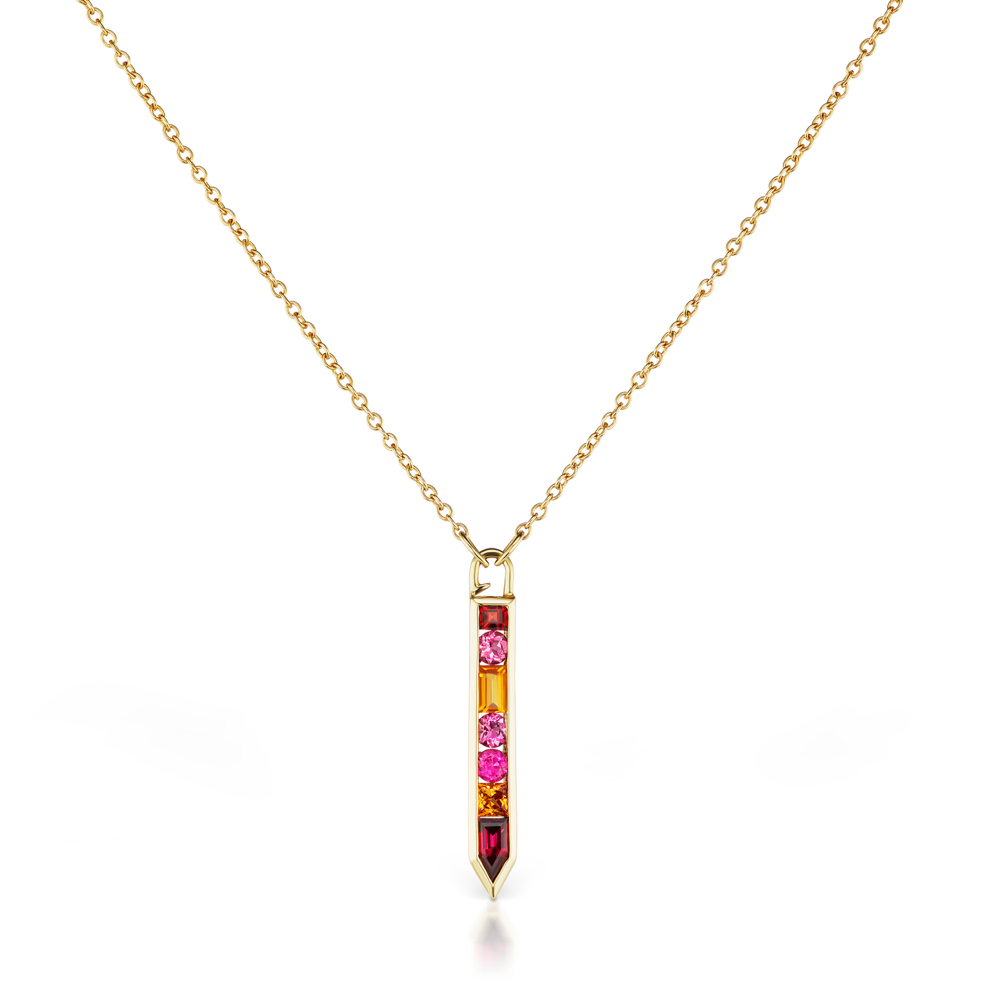 Jane Taylor Garnet, Tourmaline & Citrine Cirque Vertical Arrow Necklace