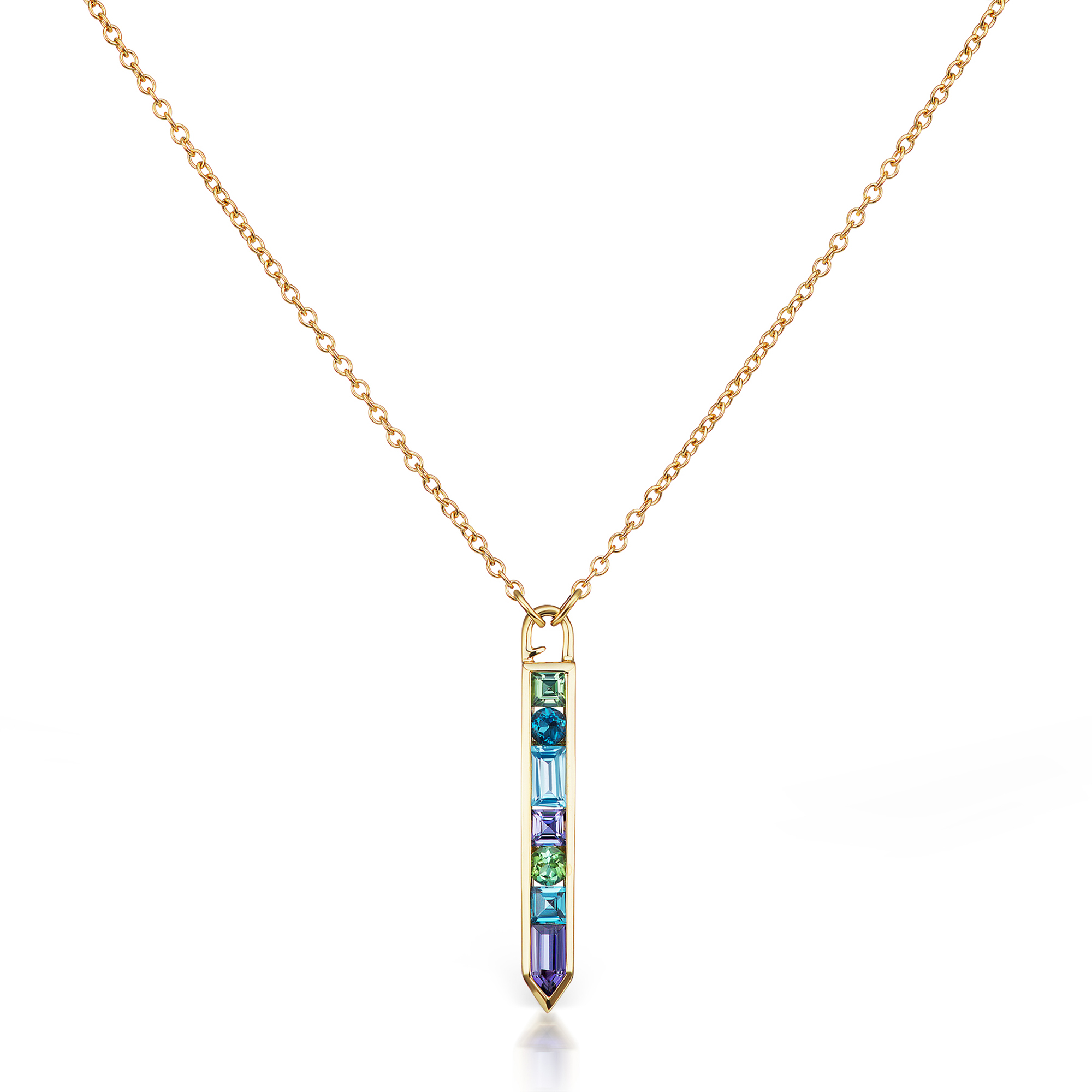Jane Taylor Iolite, Topaz & Tourmaline Cirque Vertical Arrow Necklace