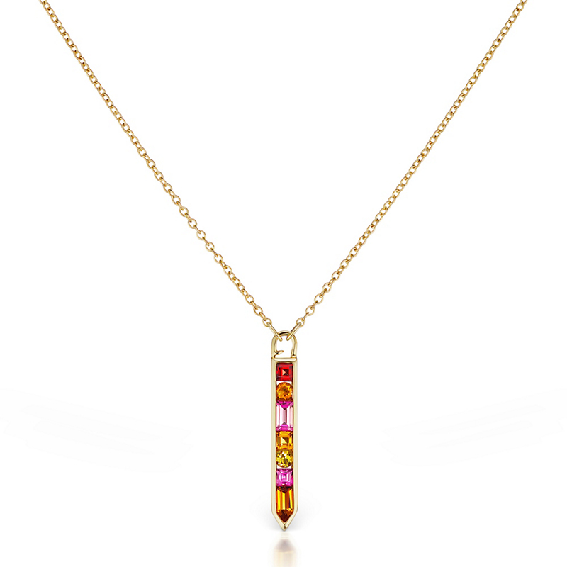 Jane Taylor Citrine, Tourmaline, Beryl & Garnet Cirque Vertical Arrow Necklace