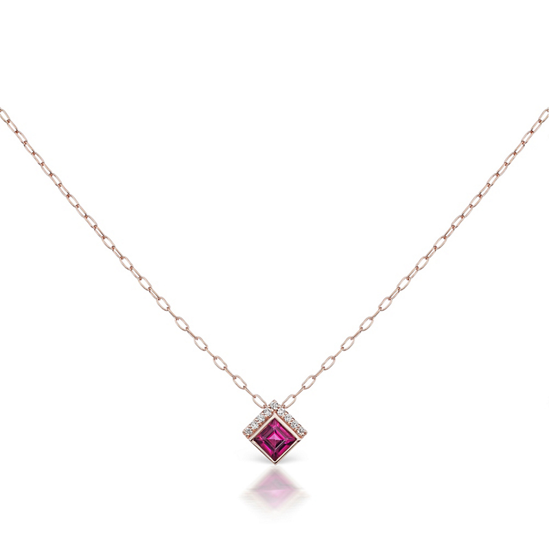 Jane Taylor Rhodolite Garnet Cirque Square Necklace
