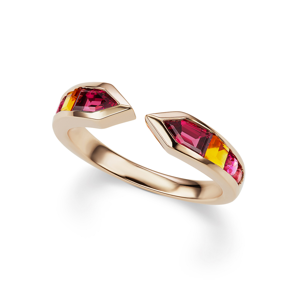 Jane Taylor Garnet, Citrine, Rubellite & Tourmaline Cirque Meeting Arrows Ring