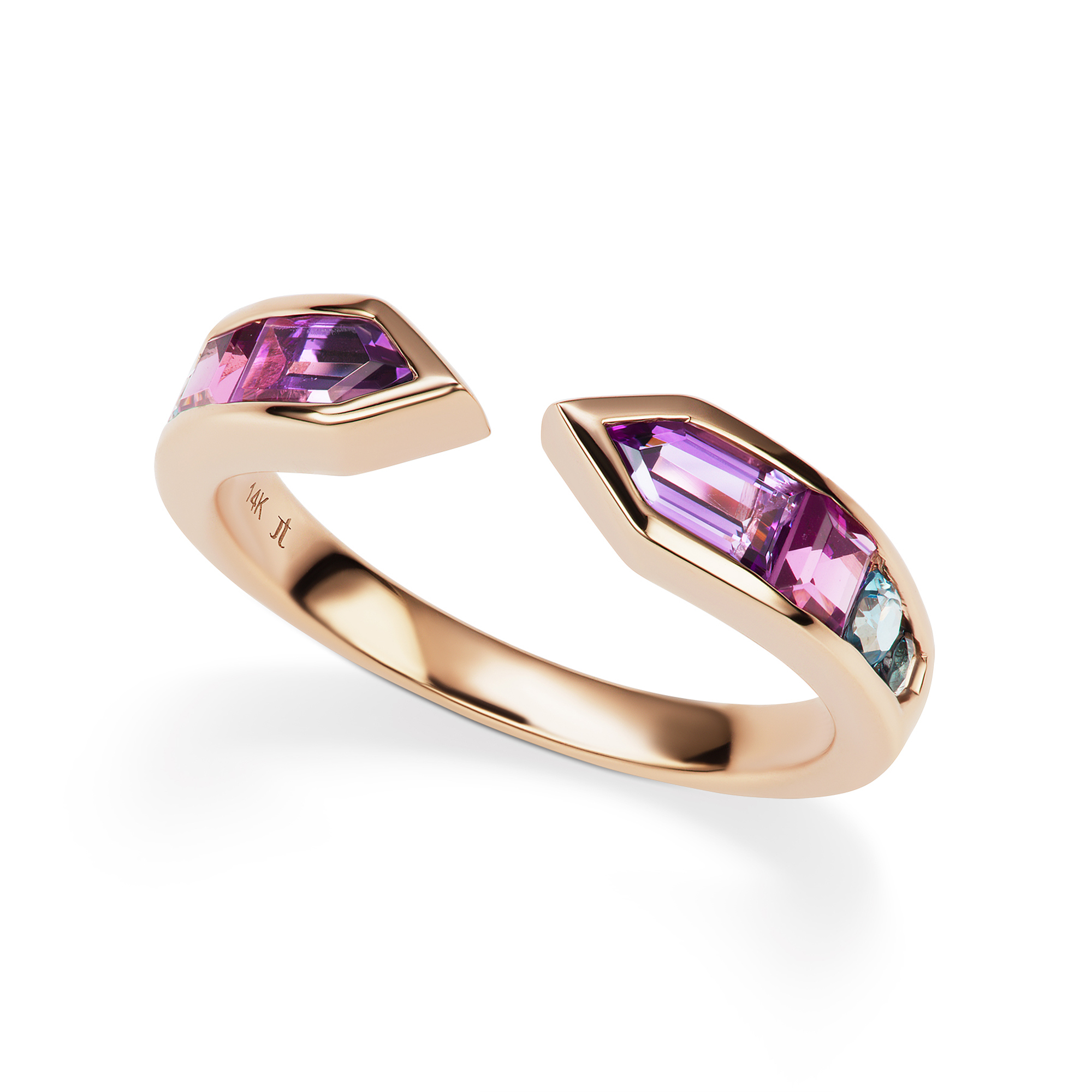 Jane Taylor Amethyst, Garnet & Topaz Cirque Meeting Arrows Ring