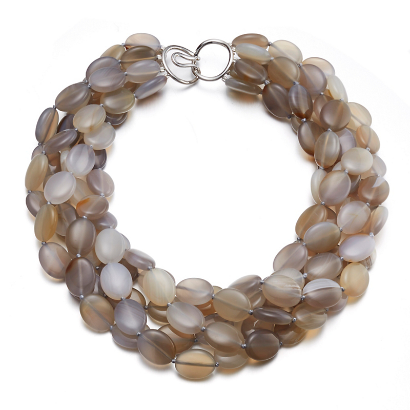 Gump's Five-Strand Oval Grey Agate Twist Necklace