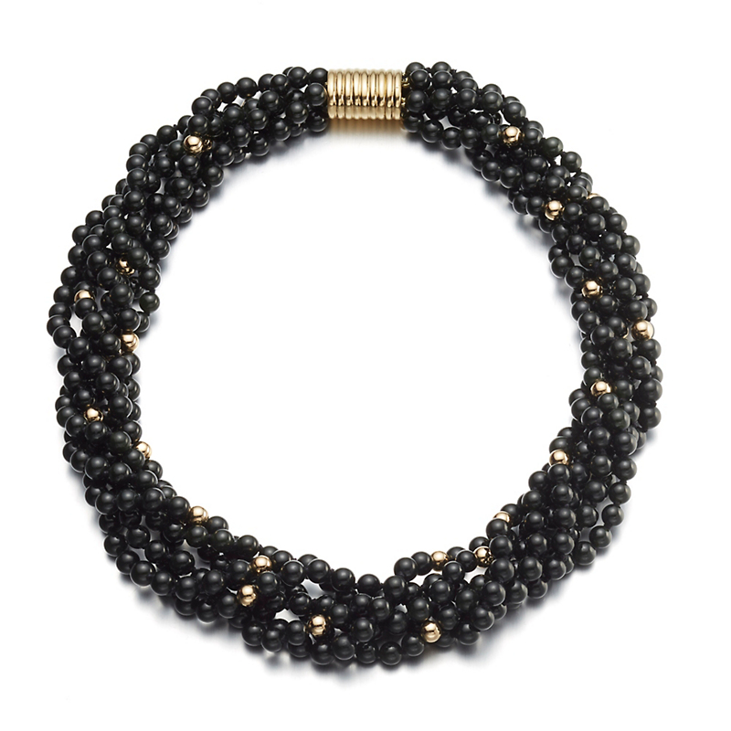 Gump's Black Nephrite Jade & Gold Twist Necklace