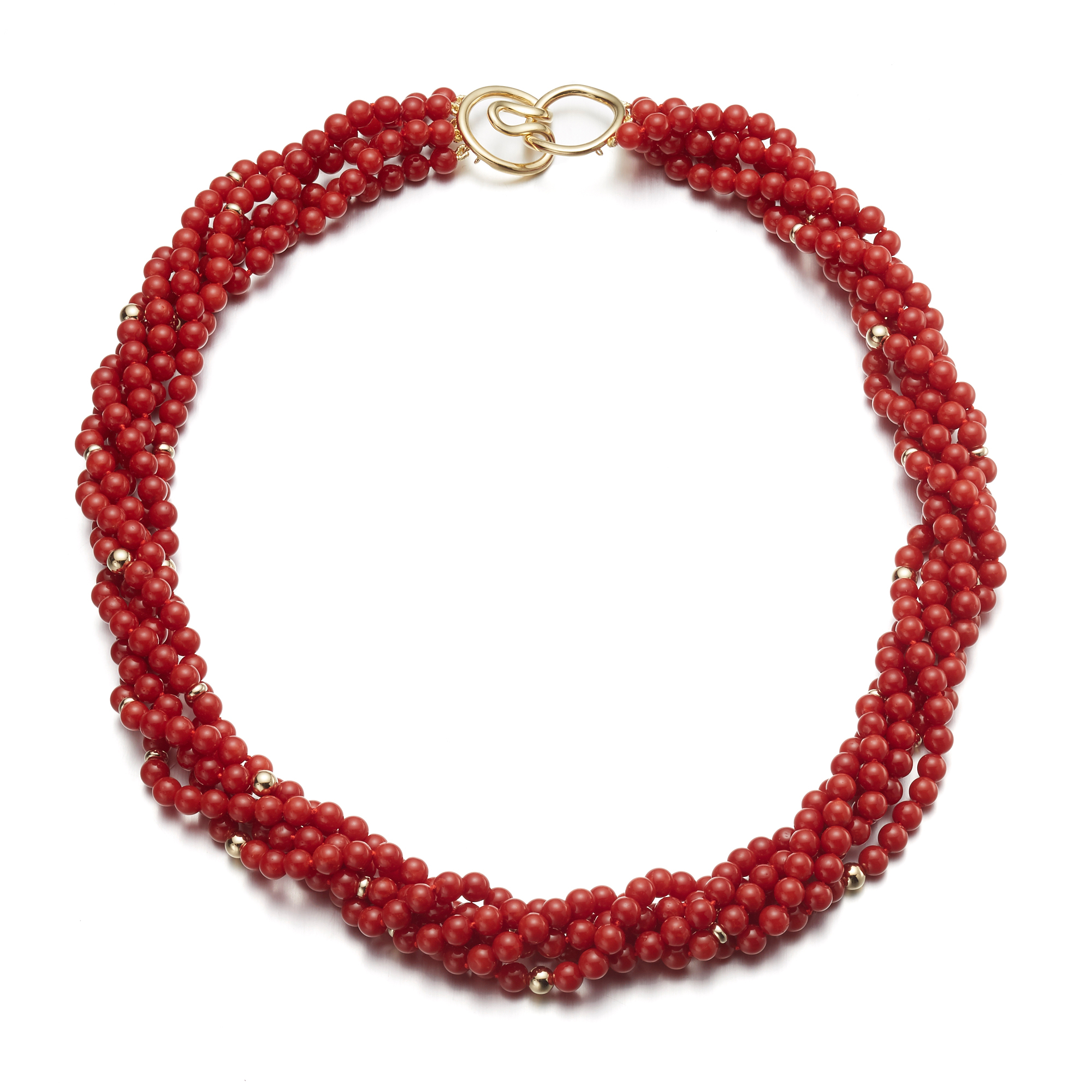 Gump's Five-Strand Red Coral Twist Necklace