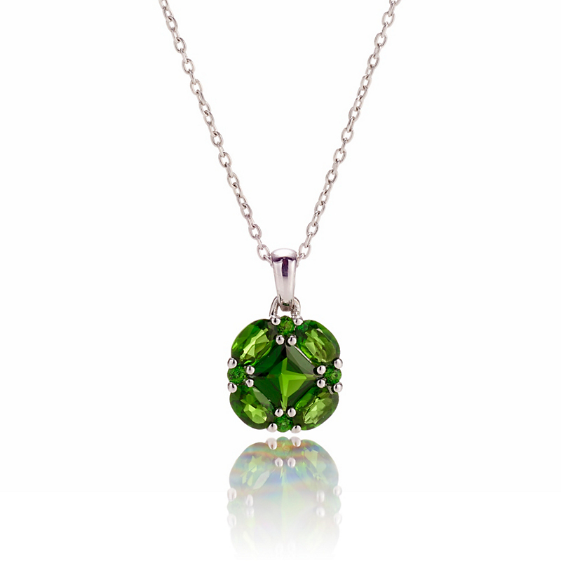 Gump's Chrome Diopside Quadrille Silver Pendant Necklace