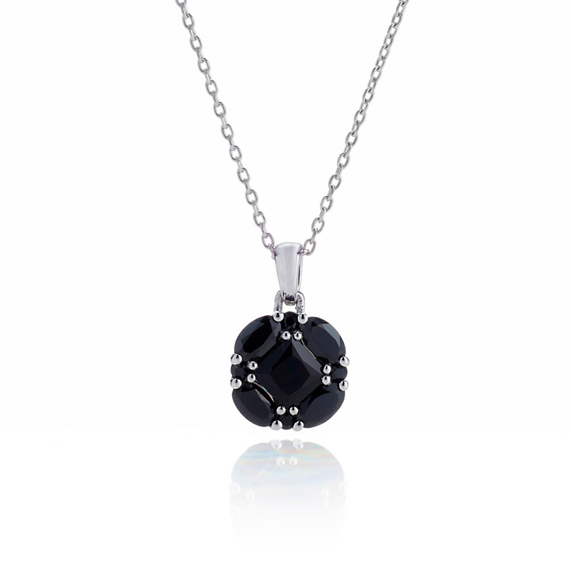 Gump's Spinel Quadrille Silver Pendant Necklace