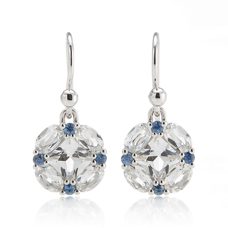 Gump's White Topaz & Blue Sapphire Quadrille Drop Earrings