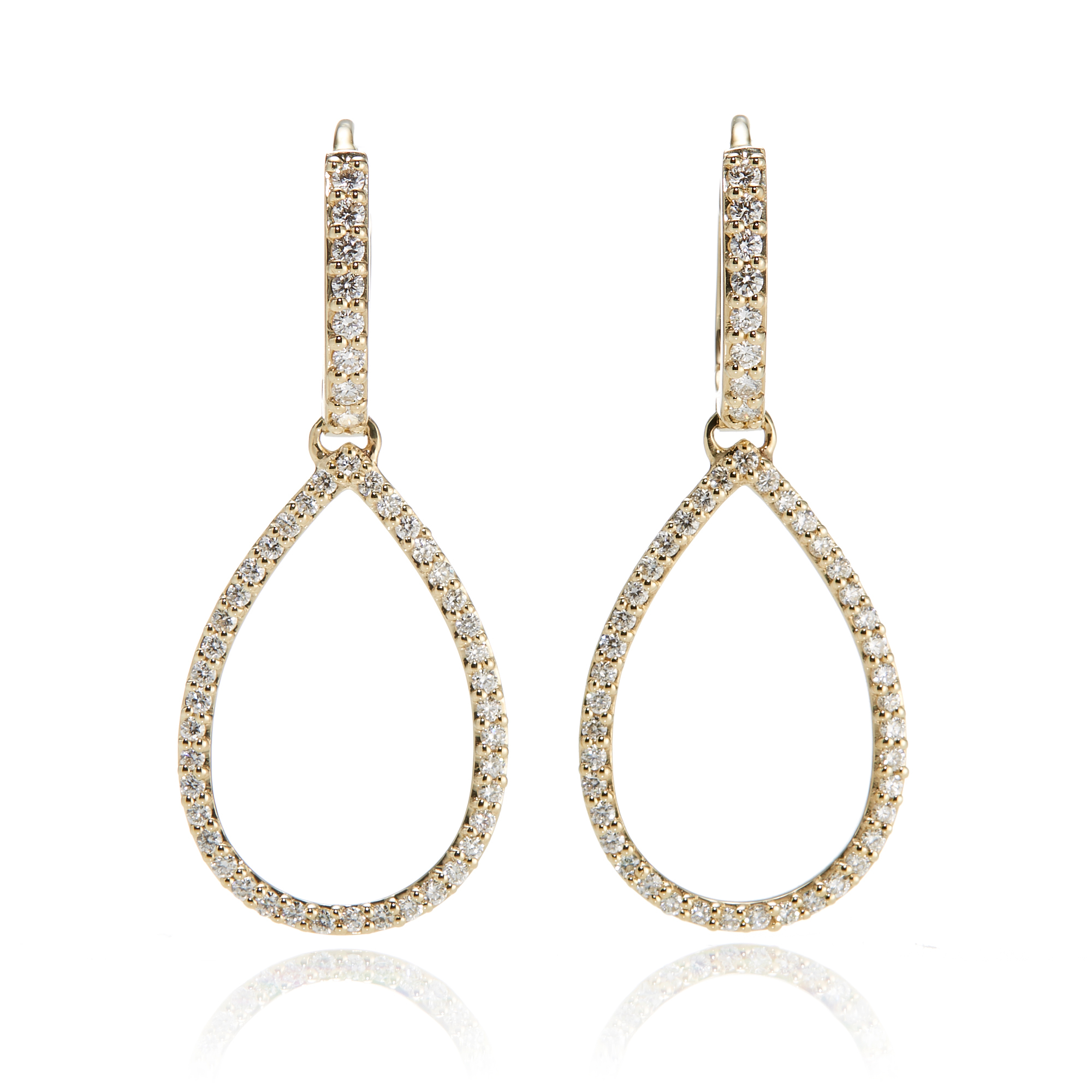Gump's Openwork Diamond Teardrop Hoop Earrings