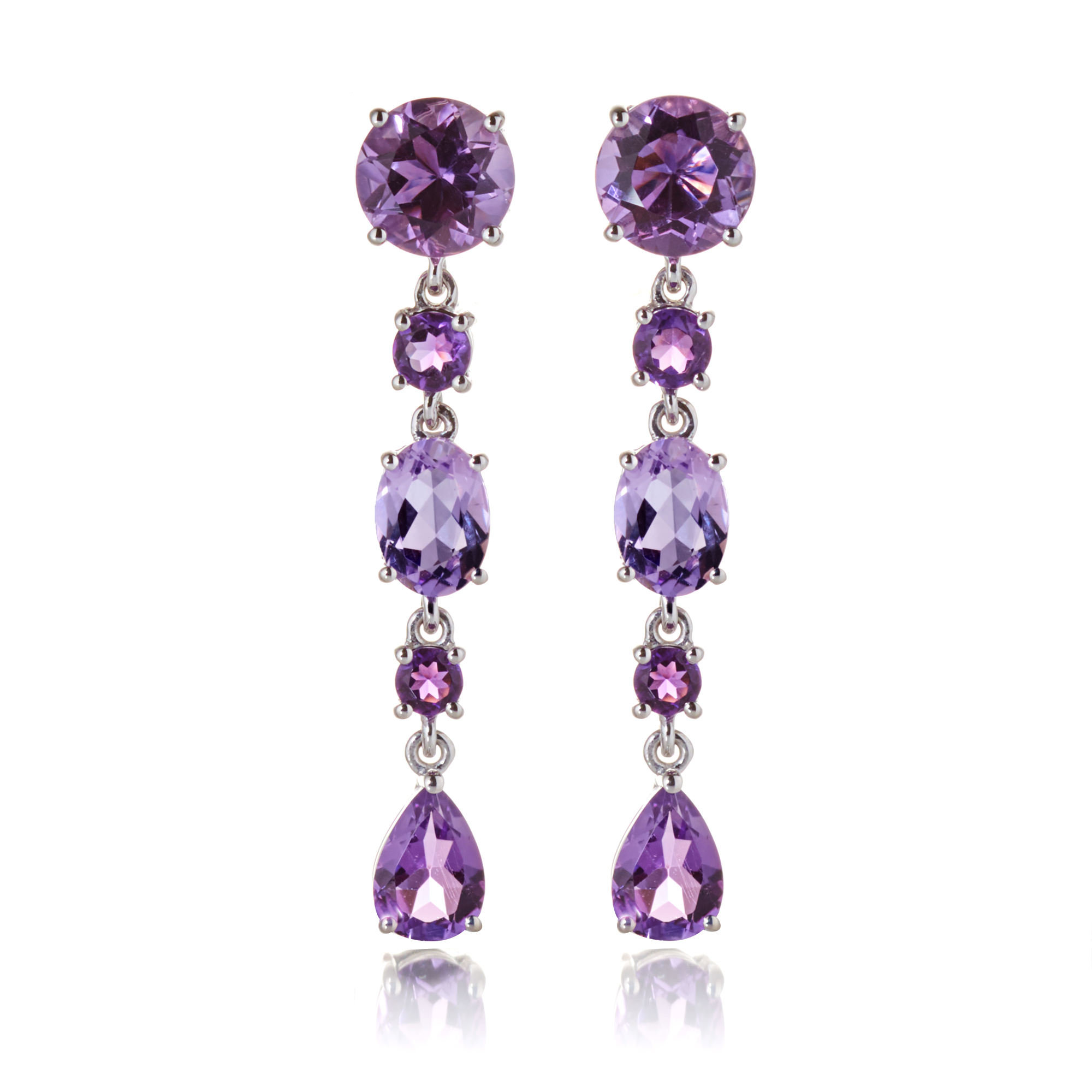 Gump's Multi-Amethyst Dangle Drop Earrings