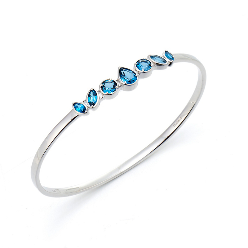 Gump's London Blue Topaz Cluster Silver Bangle
