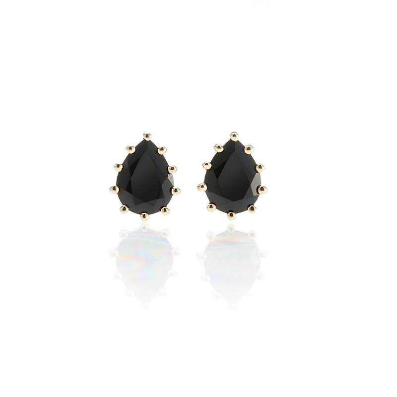 Gump's Black Spinel Teardrop Prong-Set Stud Earrings