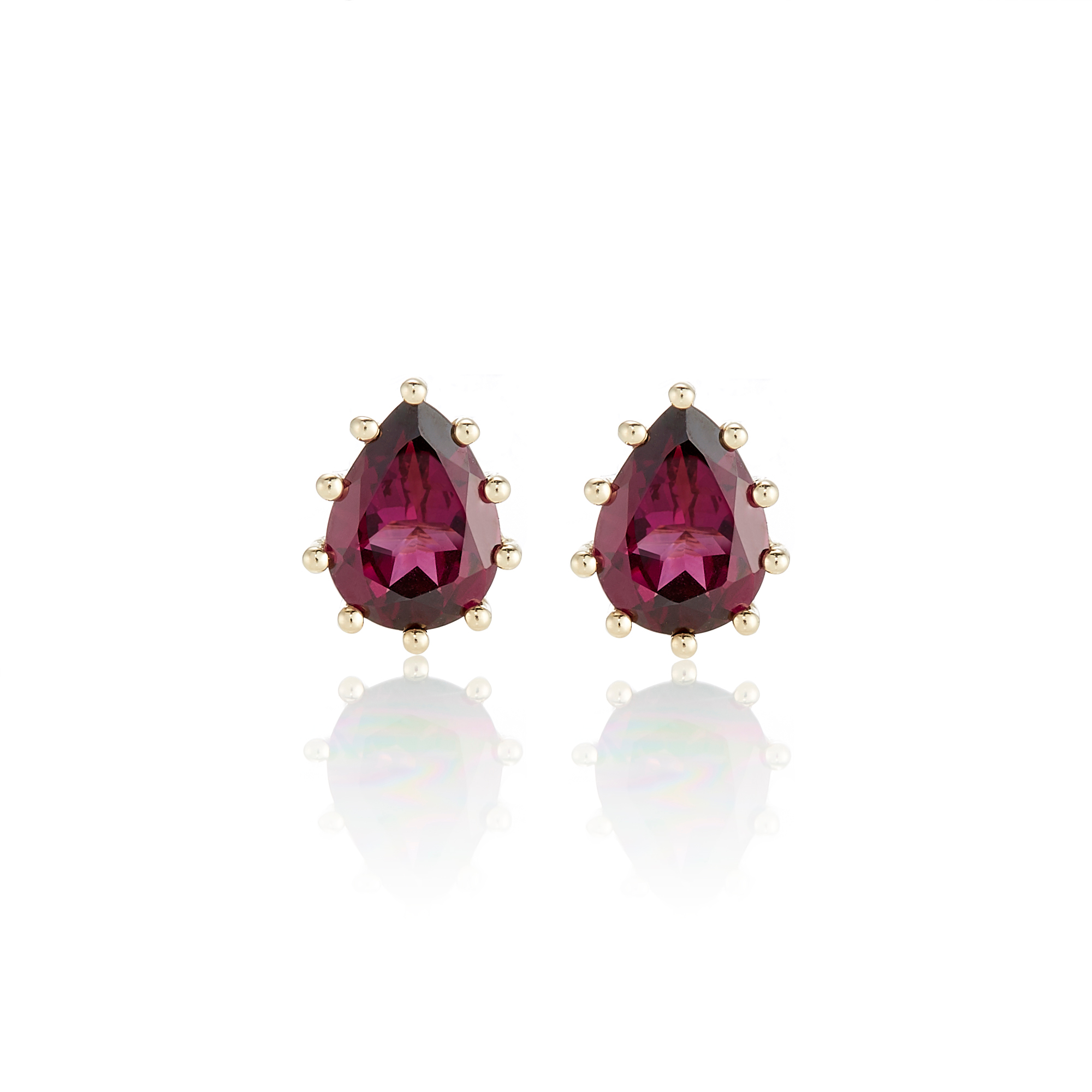 Gump's Rhodolite Garnet Teardrop Prong-Set Stud Earrings