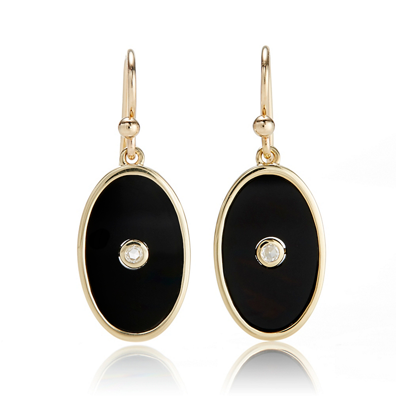 Gump's Oval Onyx & Diamond Drop Earrings