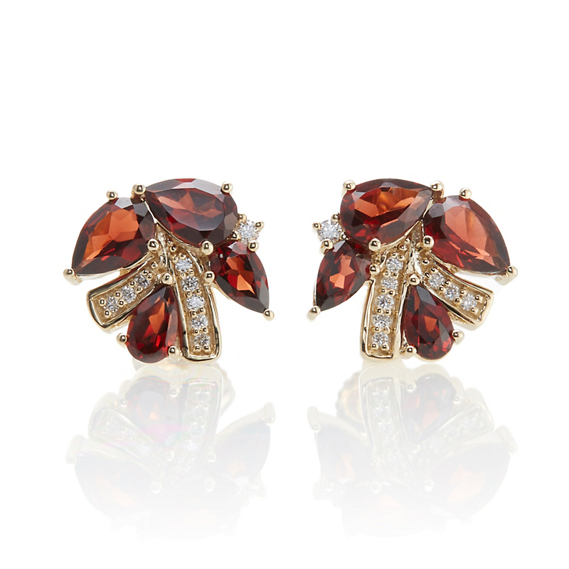 Gump's Faceted Garnet Diamond Brushstroke Studs