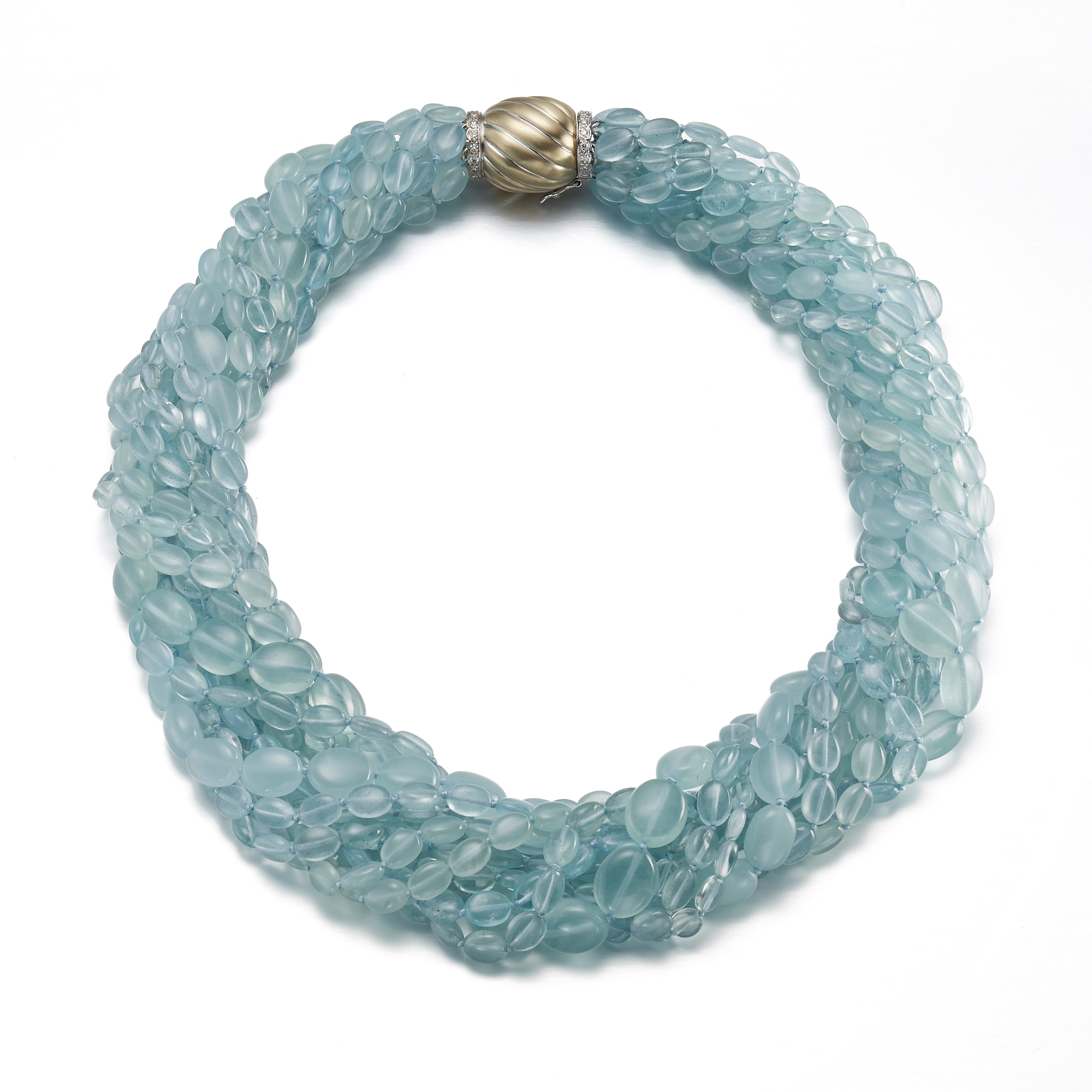 Gump's Multi-Strand Aqua Pebble Necklace