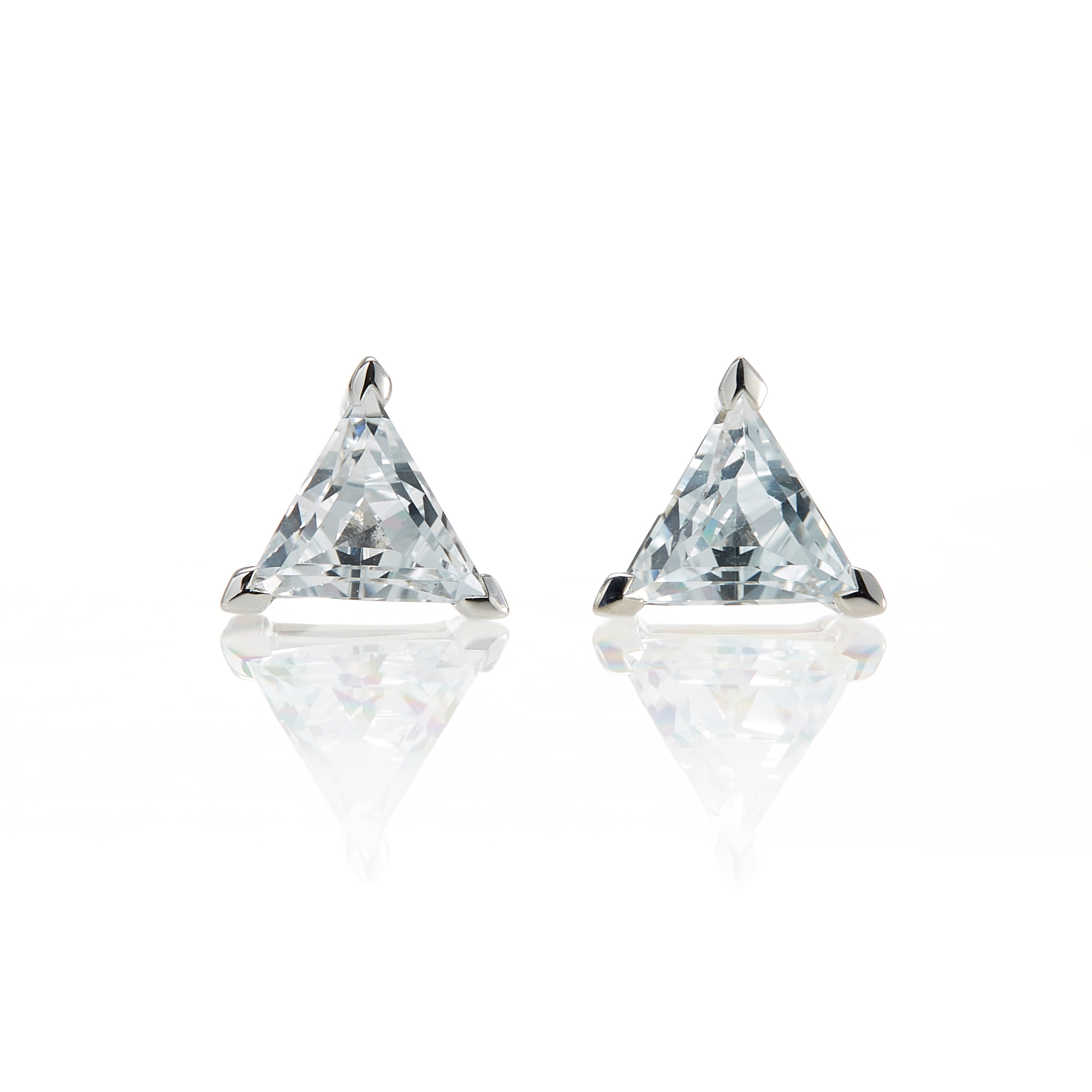 Gump's Triangle White Topaz Stud Earrings