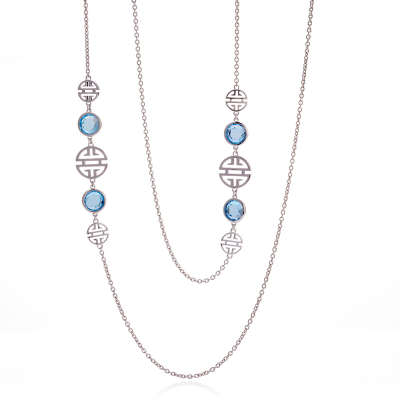 Gump's Sterling Silver Shou & Blue Topaz Necklace