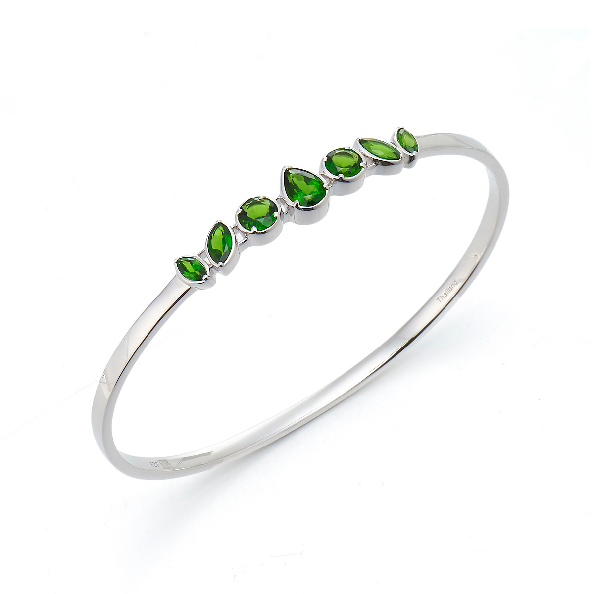 Gump's Chrome Diopside Cluster Silver Bangle
