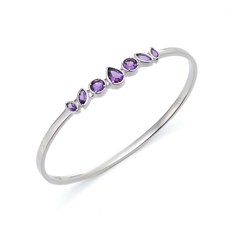 Gump's Amethyst Cluster Silver Bangle