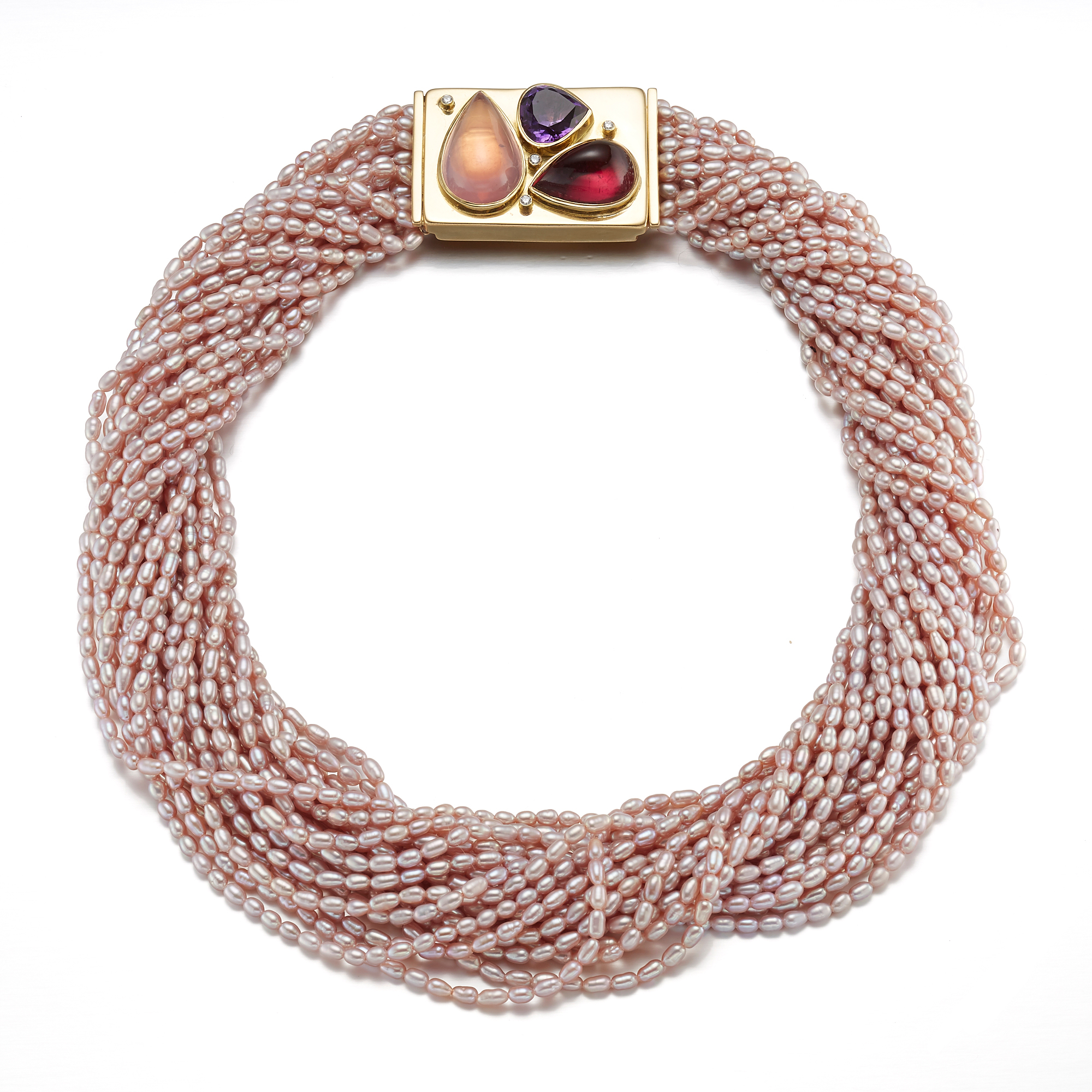 Gump's Multi-Strand Pink Pearl Necklace With Rubellite, Amethyst & Rose Quartz Clasp