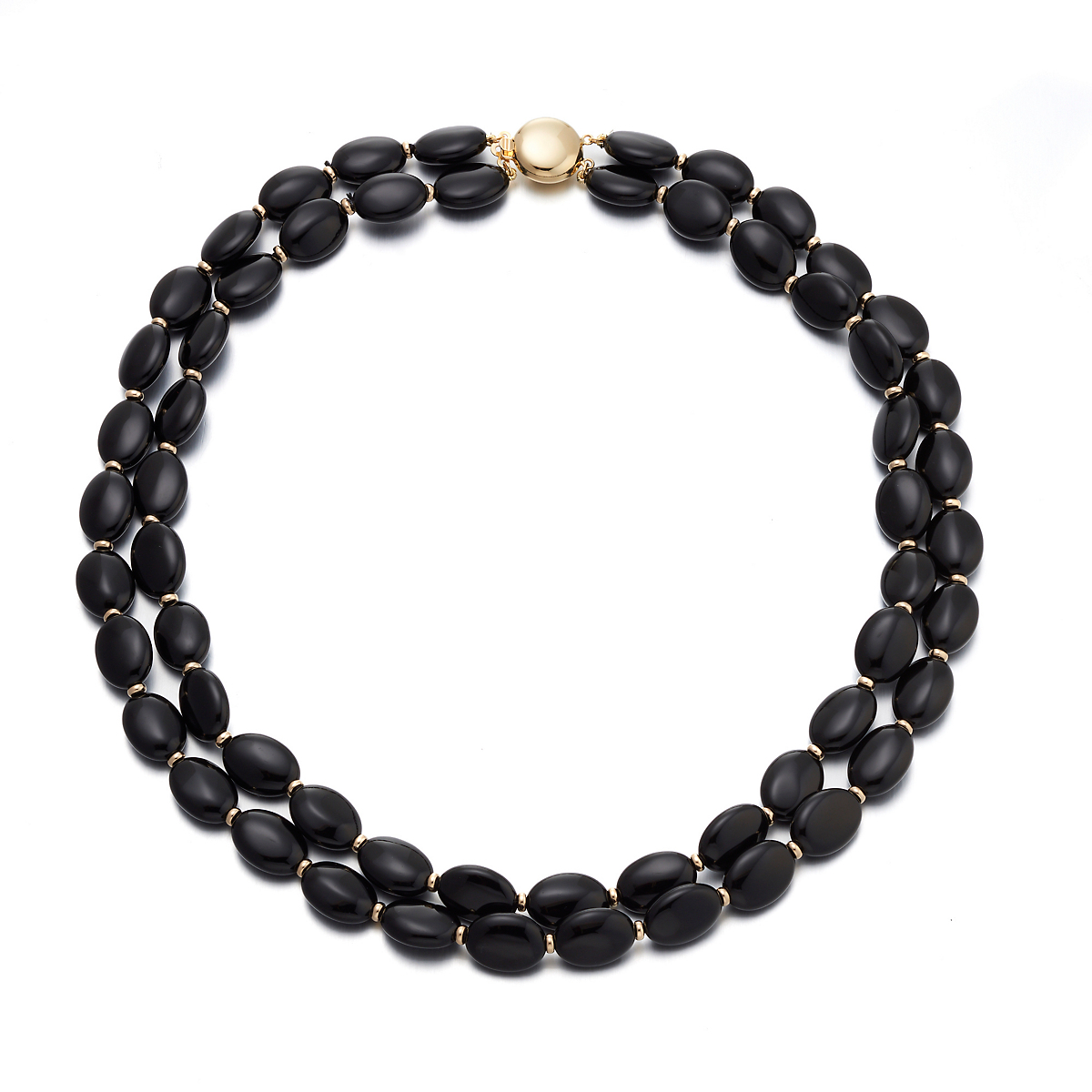 Gump's Black Onyx Oval Nested Gold Necklace