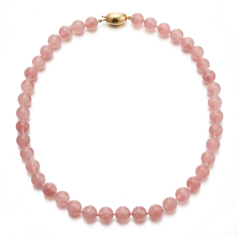 Gump's Rose Quartz Egg Clasp Necklace