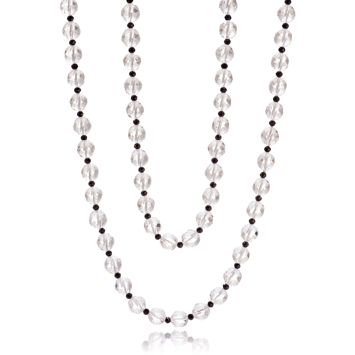 Gump's Faceted Crystal & Black Spinel Rope Necklace