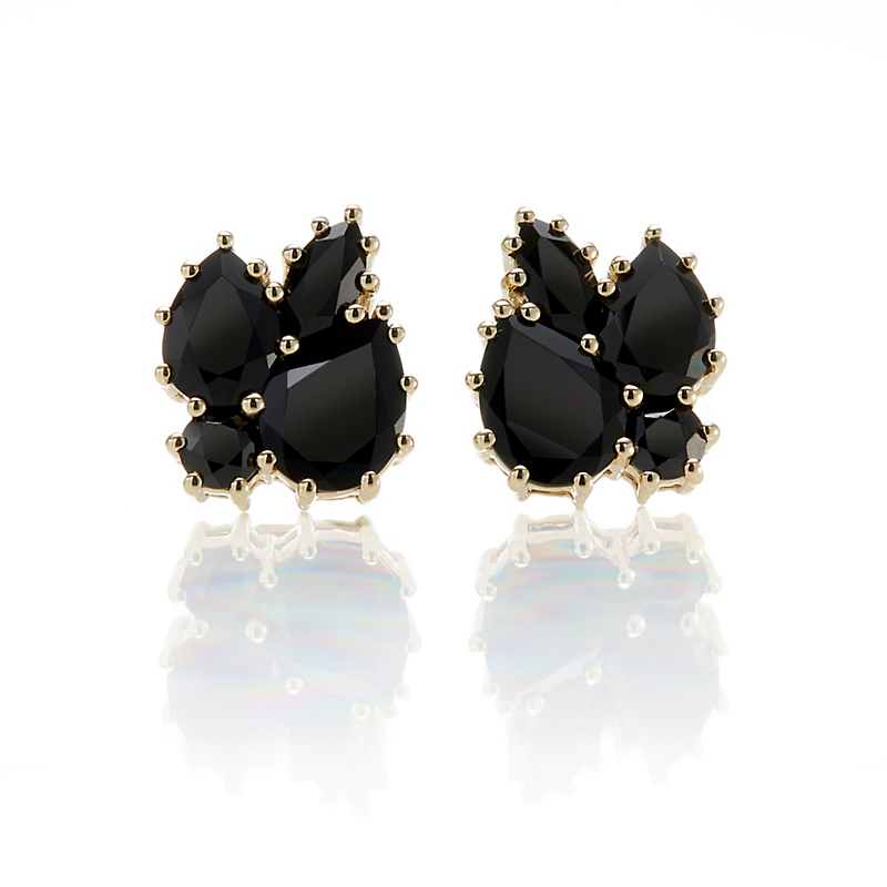Gump's Black Spinel Leaf Cluster Stud Earrings