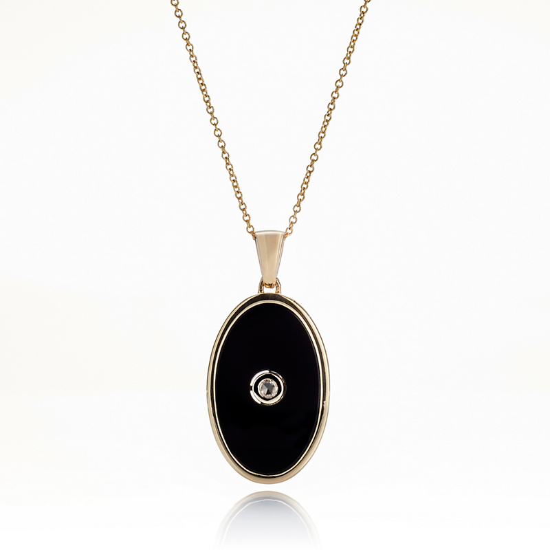 Gump's Onyx Oval & Diamond Pendant Necklace
