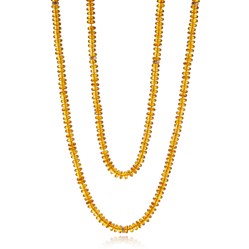 Gump's Amber Rondelle Rope Necklace