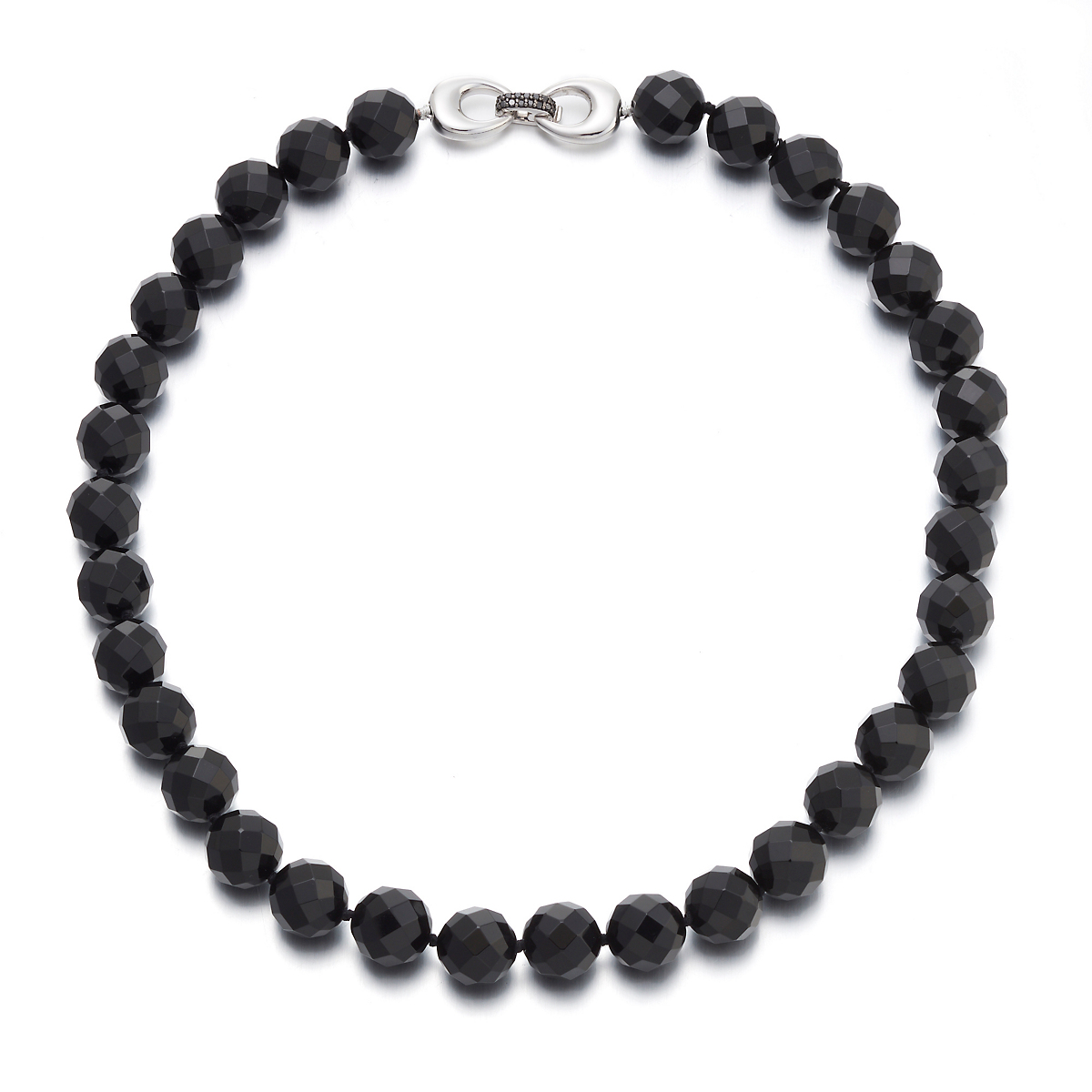 Gump's Onyx & Black Diamond Silver Buckle Necklace