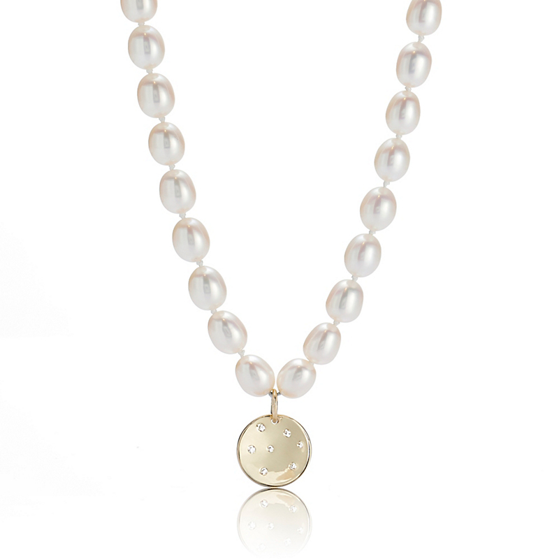 Gump's Pearl Necklace With Gold Diamond Disc Charm