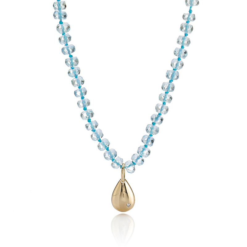 Gump's Aquamarine Necklace With Gold Teardrop Charm