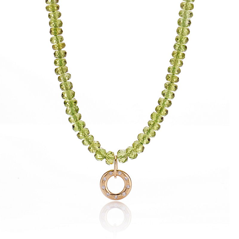 Gump's Faceted Peridot Necklace With Gold Open Circle Charm