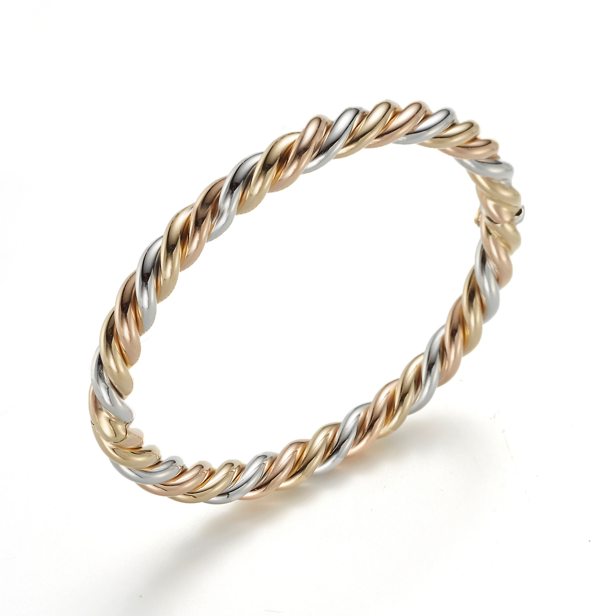 Tricolor Gold Twist Bangle