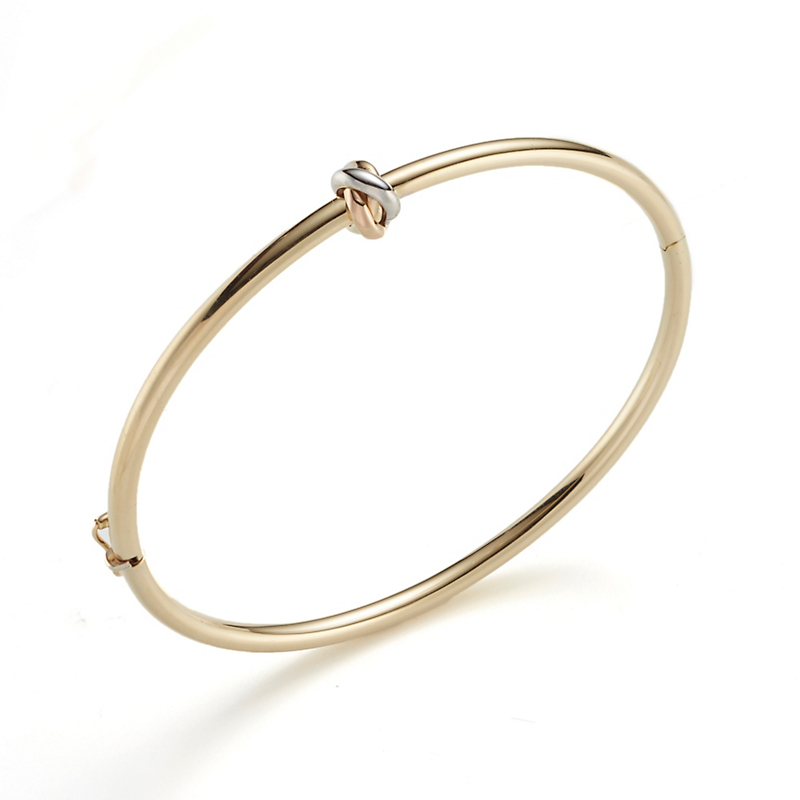 Tricolor Gold Knot Thin Hinged Bangle