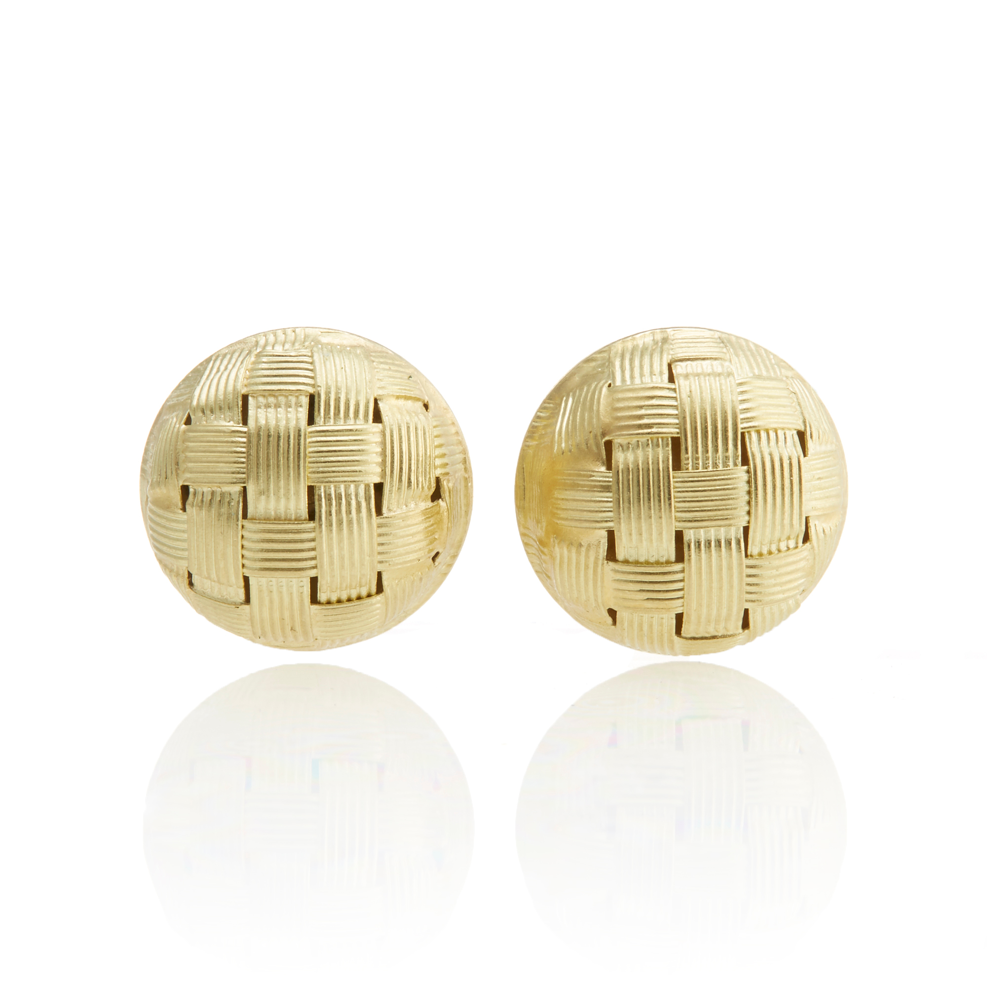 Woven Gold Round Button Earrings
