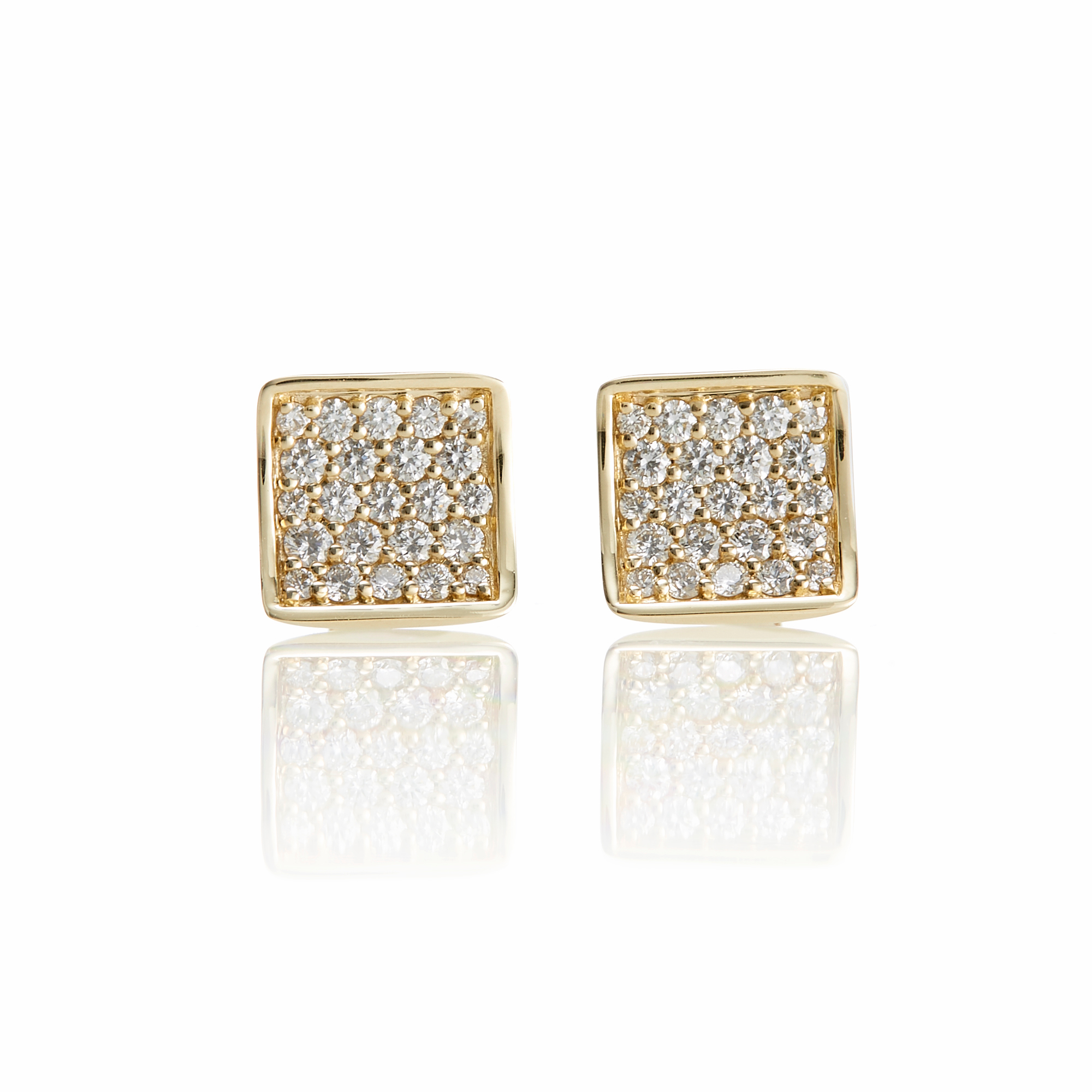 Gump's Concave Gold Diamond Square Stud Earrings